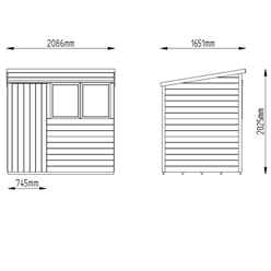 7ft x 5ft (2.01m x 1.62m) Pressure Treated Pent Tongue and Groove Shed With Single Door and 2 Windows