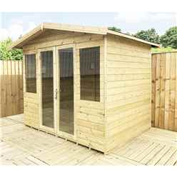 8ft x 8ft Pressure Treated Tongue & Groove Apex Summerhouse with Higher Eaves and Ridge Height + Overhang + Toughened Safety Glass + Euro Lock with Key