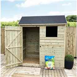 6FT x 6FT Reverse Apex Premier Pressure Treated Tongue & Groove Shed + 1 Window + Higher Eaves & Ridge Height + Single Door + Safety Toughened Glass
