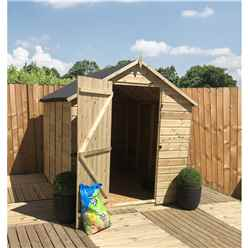 14FT x 4FT **Flash Reduction** Super Saver Pressure Treated Tongue & Groove Apex Shed + Single Door + Low Eaves + 4 Windows