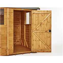 14ft x 4ft Premium Tongue and Groove Pent Shed - Single Door - 6 Windows - 12mm Tongue and Groove Floor and Roof