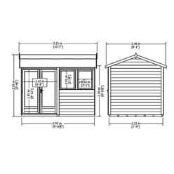12ft x 7ft (3.59m x 2.23m) - Premier Reverse Wooden Studio - 2 Windows - Double Doors - 20mm Walls (CORE)