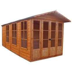 INSTALLED 13ft x 7ft (3.96m x 2.17m) - Premier Wooden Summerhouse + Roof Overhang + Optional Veranda - 12mm T&G - Walls - Floor - Roof