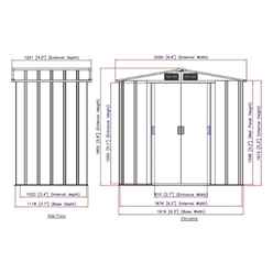 **DISCO 04/07/20** x 4ft Value Apex Metal Shed - Anthracite Grey (2.02m x 1.22m)