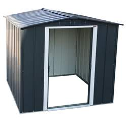 **PREORDER: DUE BACK INTO STOCK END OF JULY** 8ft x 8ft Value Apex Metal Shed - Anthracite Grey (2.62m x 2.42m)