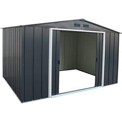 10ft x 8ft Value Apex Metal Shed - Anthracite Grey (3.22m x 2.42m)
