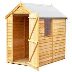 INSTALLED - 6ft x 4ft (1.83m x 1.20m) - Super Value Overlap - Apex Wooden Garden Shed -  1 Window - Single Door - 10mm Solid OSB Floor INSTALLATION INCLUDED