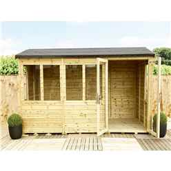 9ft x 10ft REVERSE Pressure Treated Tongue & Groove Apex Summerhouse with Higher Eaves and Ridge Height + Overhang + Toughened Safety Glass + Euro Lock with Key