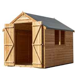 INSTALLED 8ft x 6ft  (2.39m x 1.83m) - Super Value Overlap - Apex Wooden Garden Shed - 2 Windows - Double Doors - 10mm Solid OSB Floor INSTALLATION INCLUDED