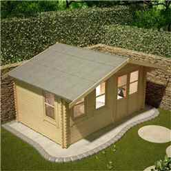 10ft x 14ft Rosco 44mm Log Cabin (19mm Tongue and Groove Floor and Roof) (2950x4150)