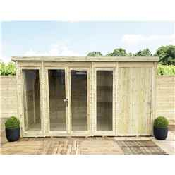 12ft x 6ft COMBI Pressure Treated Tongue & Groove Pent Summerhouse with Higher Eaves and Ridge Height + Side Shed + Toughened Safety Glass + Euro Lock with Key