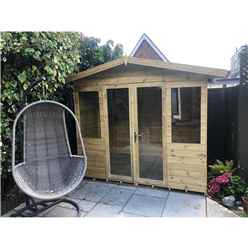 8ft x 12ft Pressure Treated Tongue & Groove Apex Summerhouse with Higher Eaves and Ridge Height + Overhang + Toughened Safety Glass + Euro Lock with Key