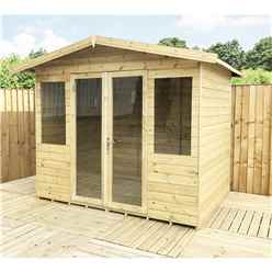 8ft x 13ft Pressure Treated Tongue & Groove Apex Summerhouse with Higher Eaves and Ridge Height + Overhang + Toughened Safety Glass + Euro Lock with Key