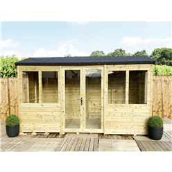 8ft x 11ft REVERSE Pressure Treated Tongue & Groove Apex Summerhouse with Higher Eaves and Ridge Height + Toughened Safety Glass + Euro Lock with Key