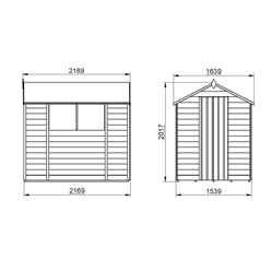 7ft x 5ft (2.1m x 1.5m) Overlap Apex Shed With Single Door and 2 Windows - Modular
