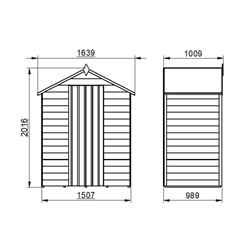 3ft x 5ft (0.9m x 1.6m) Windowless Overlap Apex Shed With Single Door - Modular - * Door is on the 5ft side