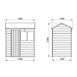 6ft x 4ft (1.3m x 1.8m) Overlap Pressure Treated Reverse Apex Shed With Single Door and 1 Window - Modular - CORE