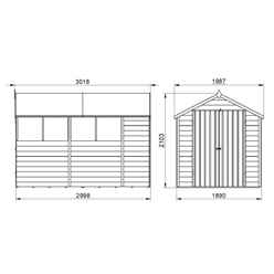 10ft x 6ft (3.1m x 1.9m) Pressure Treated Overlap Apex Shed with Double Doors and 4 Windows - Modular - CORE (BS)