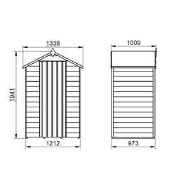 INSTALLED 4ft x 3ft (1.3m x 0.9m) Pressure Treated Overlap Apex Wooden Garden Shed - Modular - INSTALLATION INCLUDED