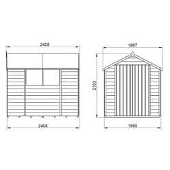 INSTALLED 8ft x 6ft (2.4m x 1.9m) Pressure Treated Overlap Apex Wooden Garden Shed with Double Doors and 2 Windows - Modular - INSTALLATION INCLUDED (CORE)