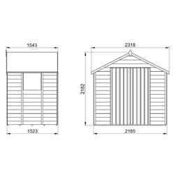 7ft x 5ft (1.5m x 2.2m) Pressure Treated Overlap Apex Wooden Garden Shed With Double Doors and 2 Windows - Modular