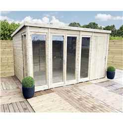 12ft x 5ft COMBI Pressure Treated Tongue & Groove Pent Summerhouse with Higher Eaves and Ridge Height + Side Shed + Toughened Safety Glass + Euro Lock with Key