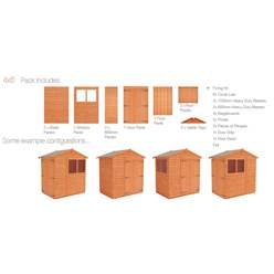 4ft x 6ft Tongue and Groove Apex Shed with Double Doors (12mm Tongue and Groove Floor and Apex Roof)