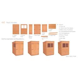 4ft x 6ft Tongue and Groove Pent Shed Double Door (12mm Tongue and Groove Floor and Roof)
