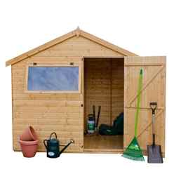 6ft x 8ft (1.83m x 2.44m) Tongue And Groove Reverse Apex Shed With Single Door + 1 Window (10mm Solid OSB Floor)