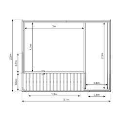 10ft x 8ft (3.1m x 2.4m) Contempory Gardenroom Large Combi (12mm T&G Floor & Roof)