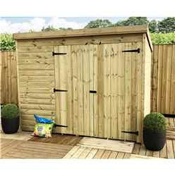 8FT x 6FT Windowless Pressure Treated Tongue & Groove Pent Shed + Double Doors
