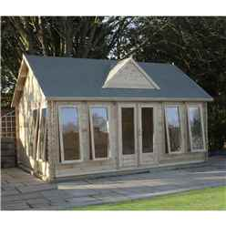 5.5m x 4m Traditional Clock House Log Cabin (Double Glazing) + Free Floor & Felt & Safety Glass (44mm T&G)