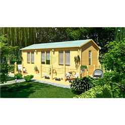 7m x 4m Premier Auris Log Cabin - Double Glazing - 70mm Wall Thickness