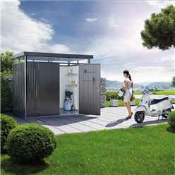 8ft x 6ft Heavy Duty Metal Dark Grey Shed With Double Doors (2.75m x 1.95m)