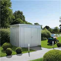 8ft x 8ft Heavy Duty Silver Metallic Shed With Double Doors (2.75m x 2.75m)