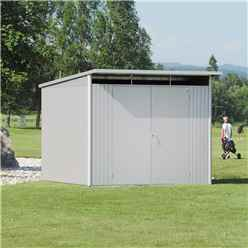8ft x 10ft Ex Large Silver Metallic Heavy Duty Metal Shed With Double Doors (2.6m x 3m)