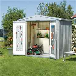 8ft x 5ft Heavy Duty Silver Metallic Metal Shed (2.44m x 1.56m)