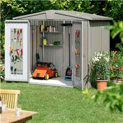 8ft x 7ft Heavy Duty Quartz Grey Metal Shed (2.44m x 2.28m)