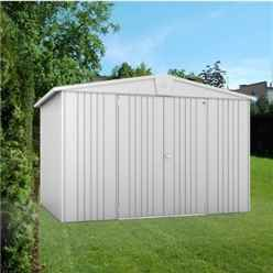 10ft x 7ft Heavy Duty Silver Metallic Metal Shed (3.16m x 2.28m)
