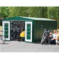 10ft x 10ft Heavy Duty Dark Green Metal Shed (3.16m x 3m)
