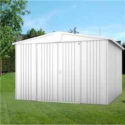10ft x 10ft Heavy Duty Silver Metallic Metal Shed (3.16m x 3m)