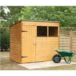 7ft x 5ft (2.09m x 1.63m) Wooden Shiplap Pent Shed With Single Door and 2 Windows
