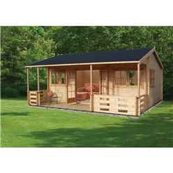 5.39m x 5.90m Log Cabin Including Pressure Treated Decking - 44mm Wall Thickness