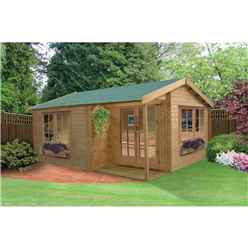 3.59m x 3.89m Attractive High Quality Log Cabin - 34mm Wall Thickness