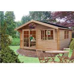 3.59m x 4.19m  Durable Apex Log Cabin - 44mm Wall Thickness