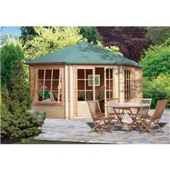2.99m x 4.19m  Stylish Corner Log Cabin - 28mm Wall Thickness