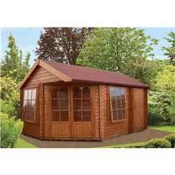 2.96m x 4.34m Perfect Corner Log Cabin - 28mm Wall Thickness