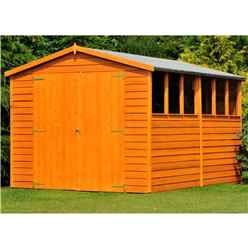 12ft x 6ft  (3.59m x 1.82m) - Dip Treated Overlap - Apex Garden Shed - 6 Windows - Double Doors - 10mm Solid OSB Floor