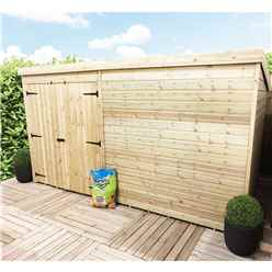 12FT x 5FT Windowless Pressure Treated Tongue & Groove Pent Shed + Double Doors
