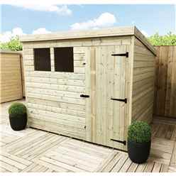 8FT x 8FT Pressure Treated Tongue & Groove Pent Shed + 2 Windows + Single Door + Safety Toughened Glass